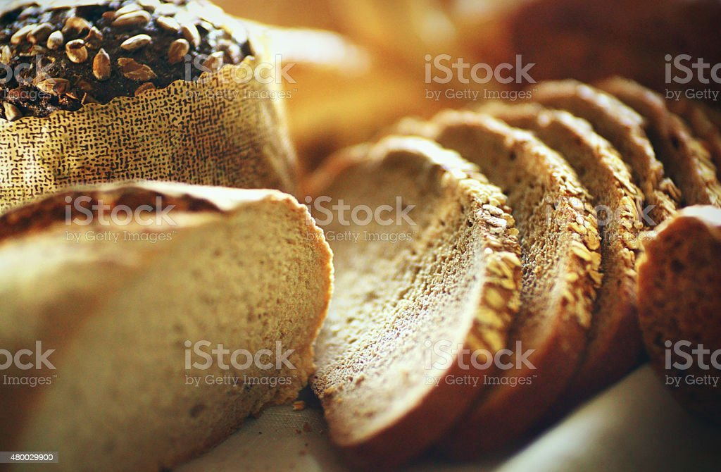 Fresh breads,loafs and buns. stock photo
