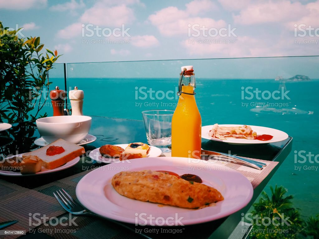 Fresh Breakfast near the sea stock photo