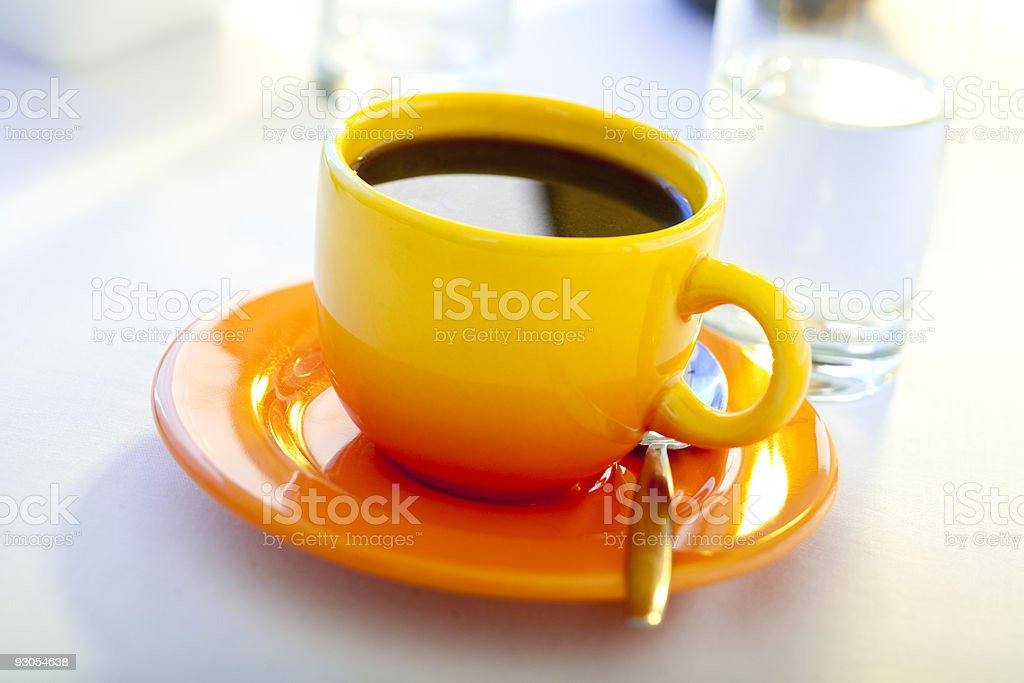 fresh brewed and hot coffee stock photo