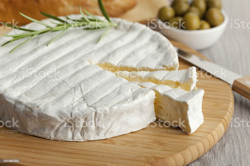 Fresh Brie cheese stock photo