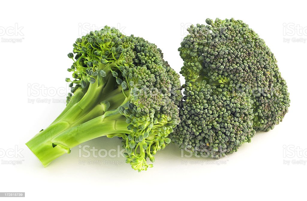 Fresh Broccoli, Green Vegetable Food Floret Pieces Isolated on White royalty-free stock photo