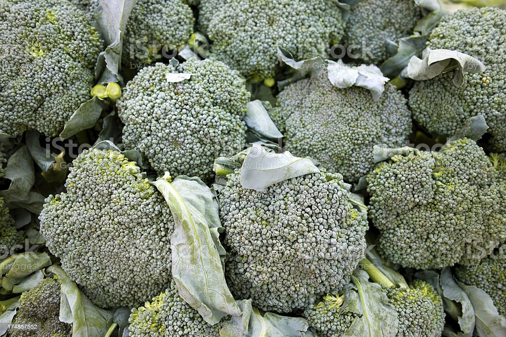Fresh broccoli spears in an Asian market. royalty-free stock photo