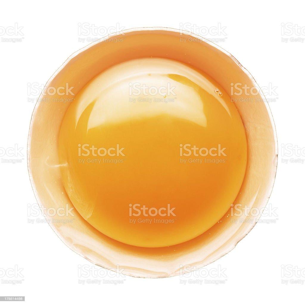 Fresh broken egg portion on white stock photo