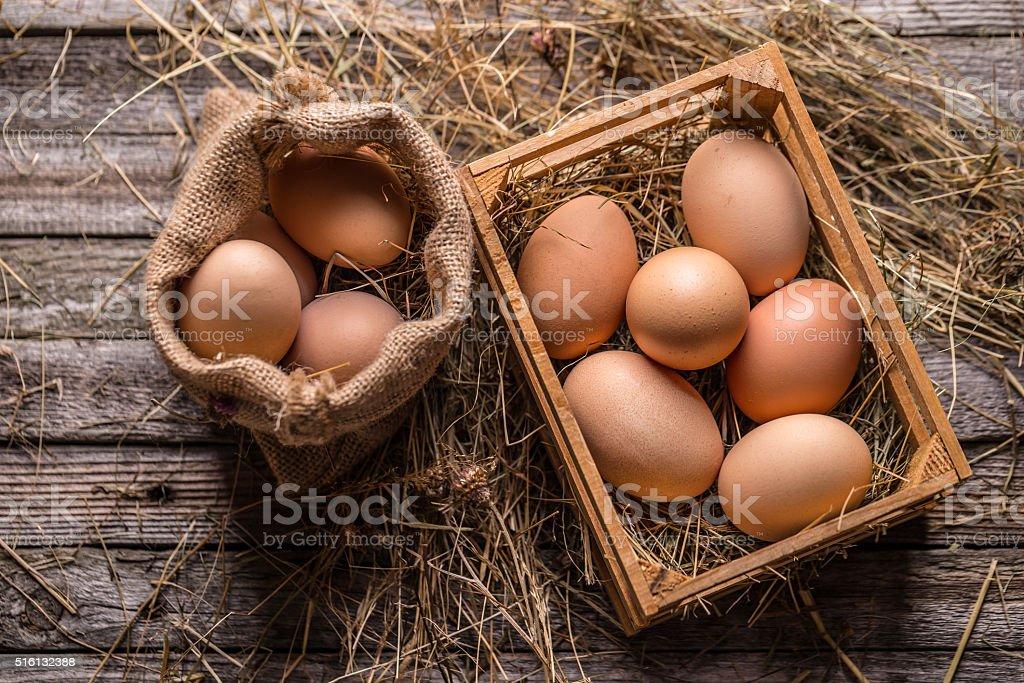 Fresh brown eggs stock photo