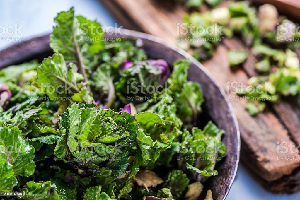 Fresh brussel and kale sprouts flower stock photo