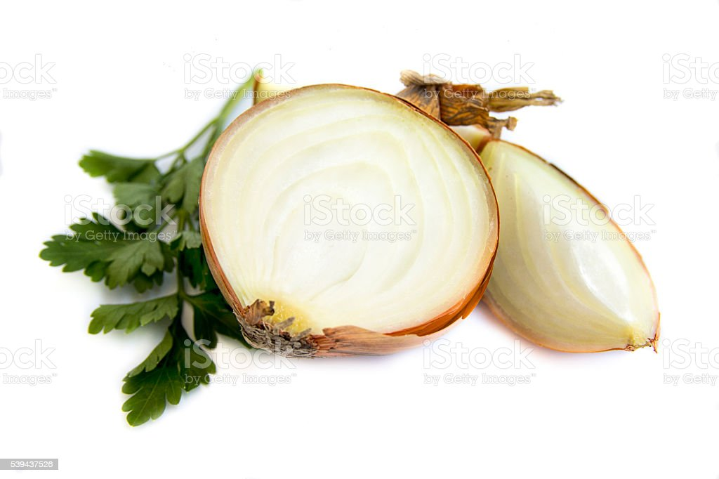 Fresh bulbs of onion on a white background stock photo