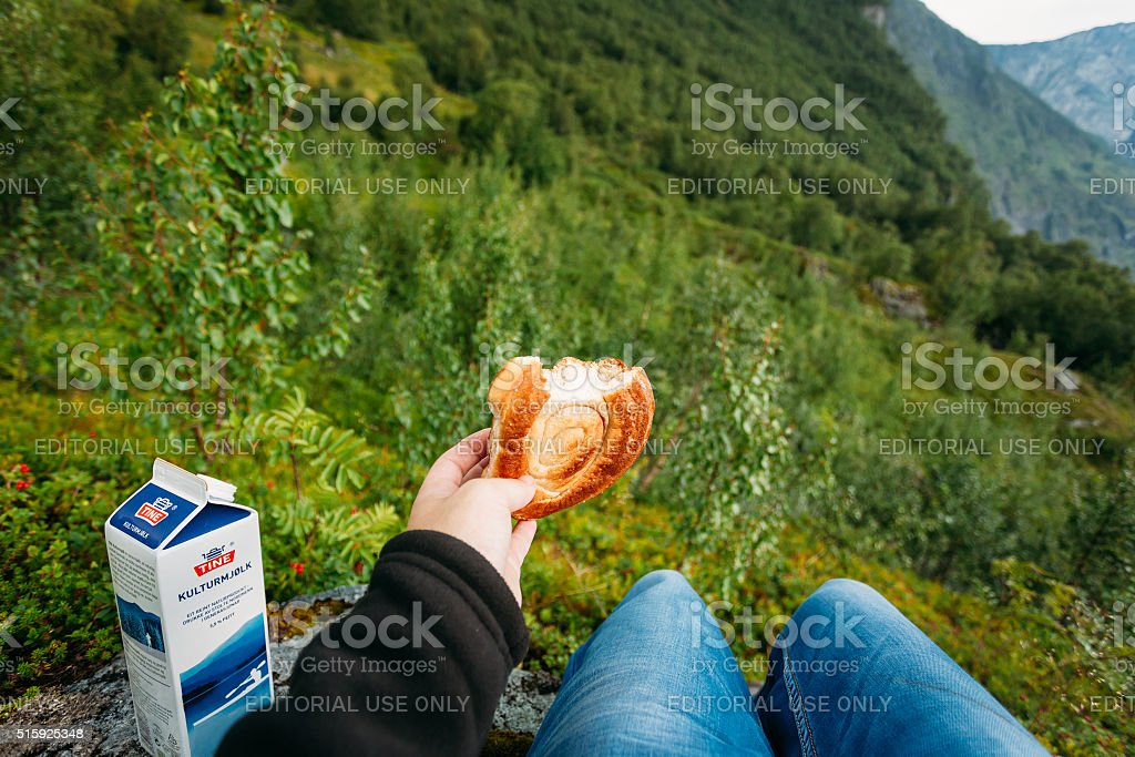 Fresh bun in hand and package sour from Tine stock photo