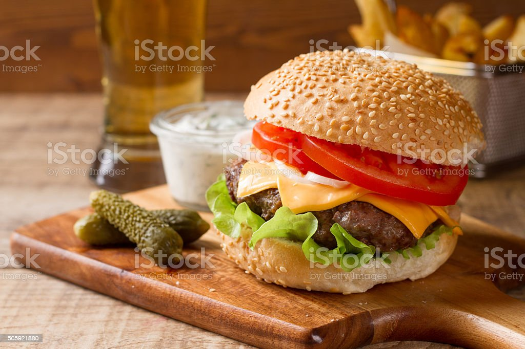 Fresh burger closeup stock photo