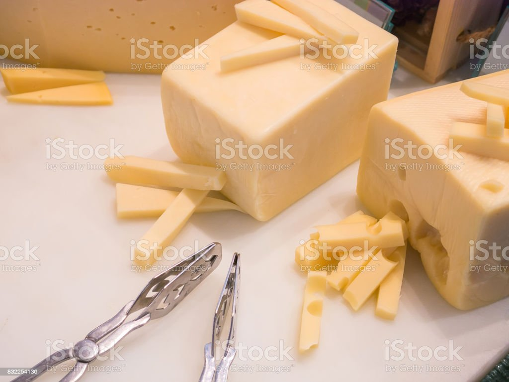 Fresh butter placed on a white tray. stock photo