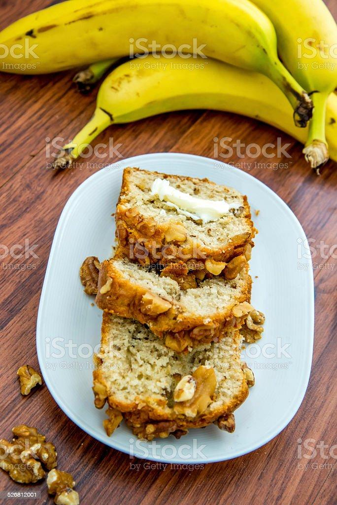 fresh buttered banana walnut bread stock photo