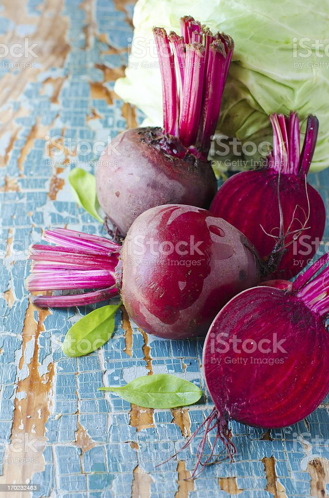 Fresh cabbage and beets royalty-free stock photo