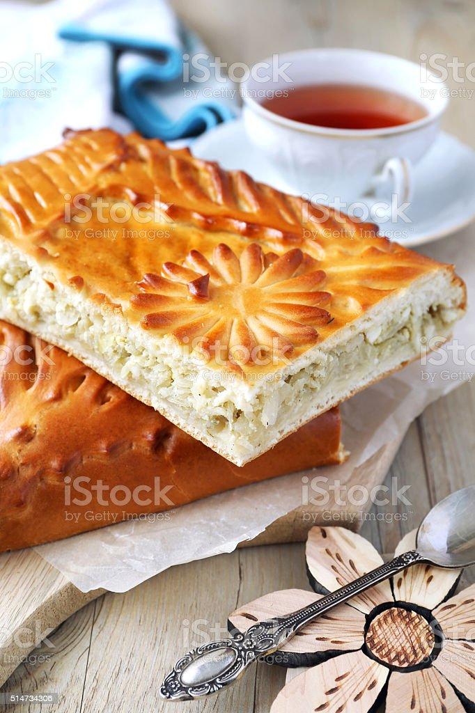 Fresh cabbage pie stock photo