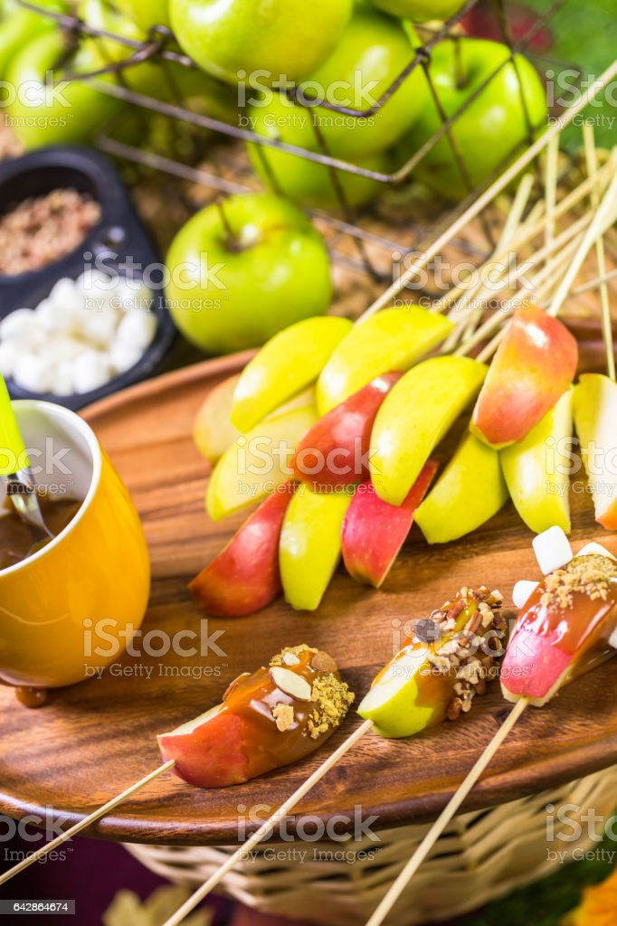fresh caramel apple slices stock photo
