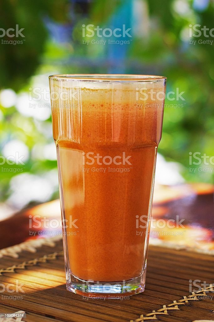 Fresh carrot and apple juice stock photo