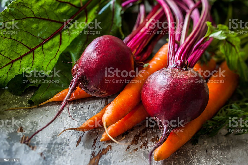 fresh carrot and beetroot stock photo