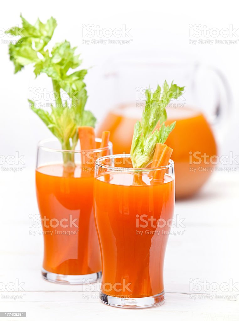 Fresh carrot and pumpkin juice stock photo
