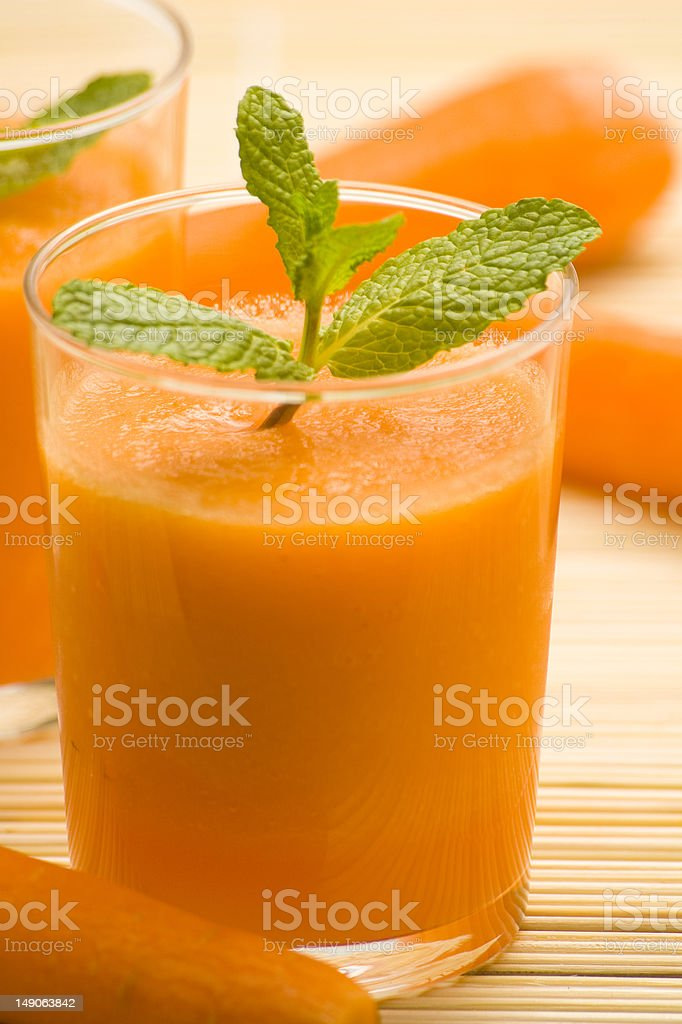 fresh carrot juice and mint royalty-free stock photo
