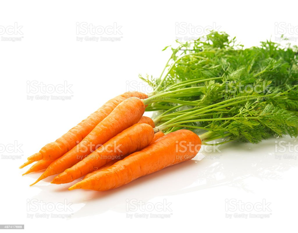 fresh carrots isolated stock photo