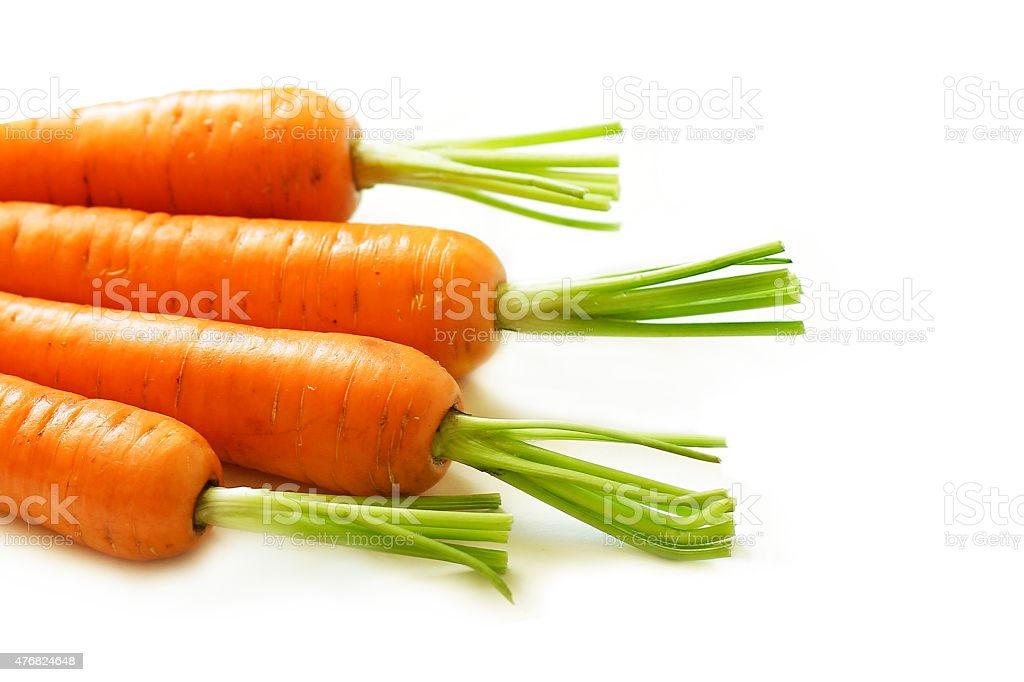 Fresh carrots on white background stock photo