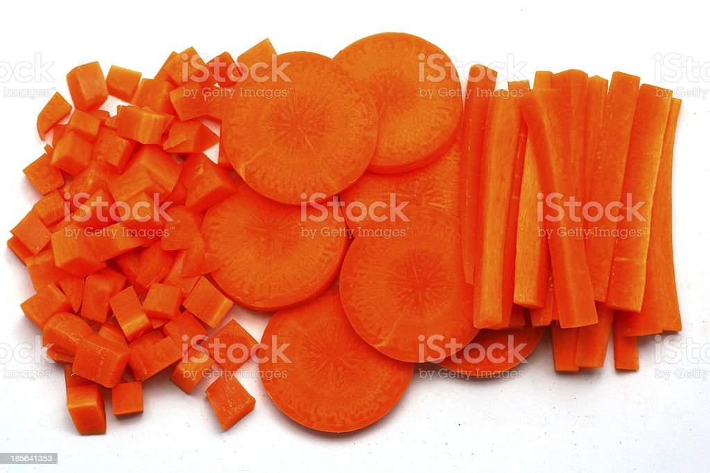 Fresh carrots sliced and diced royalty-free stock photo