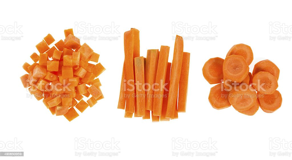 Fresh carrots sliced and diced stock photo