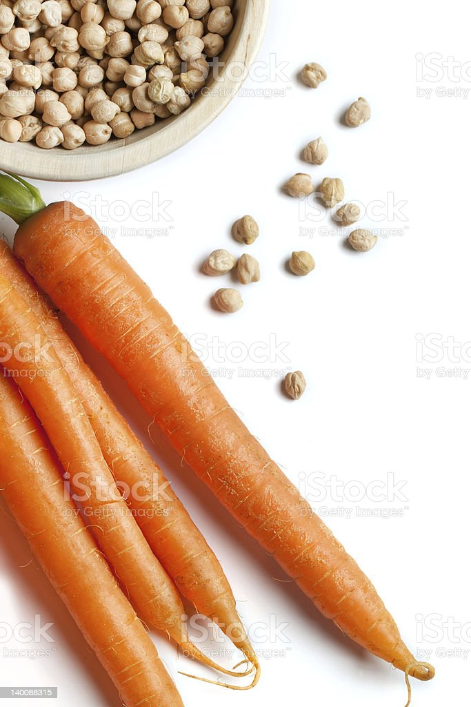 Fresh carrots with chickpeas royalty-free stock photo