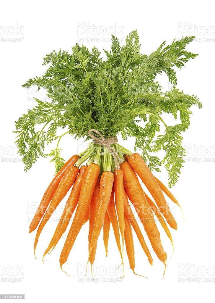 fresh carrots with green leaves isolated on white royalty-free stock photo
