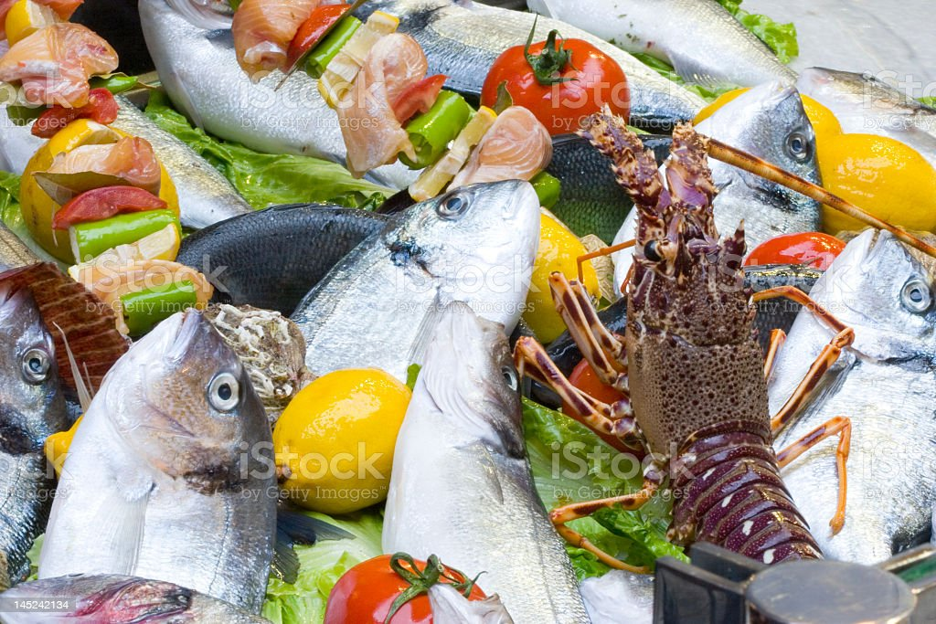 Fresh catch of fish and other seafood stock photo