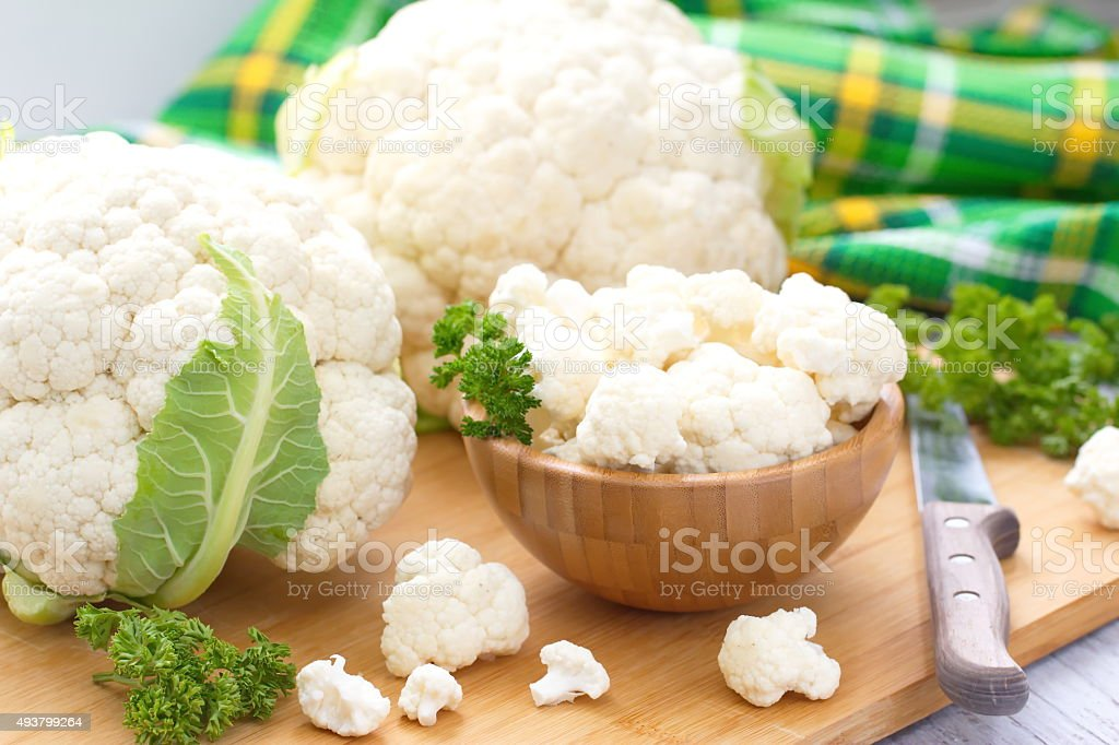 Fresh Cauliflower prepared for cooking stock photo