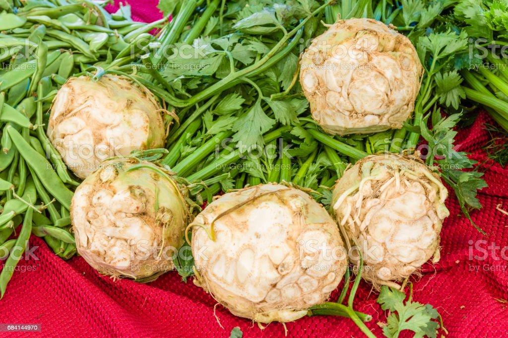 Fresh celeriac at the market stock photo