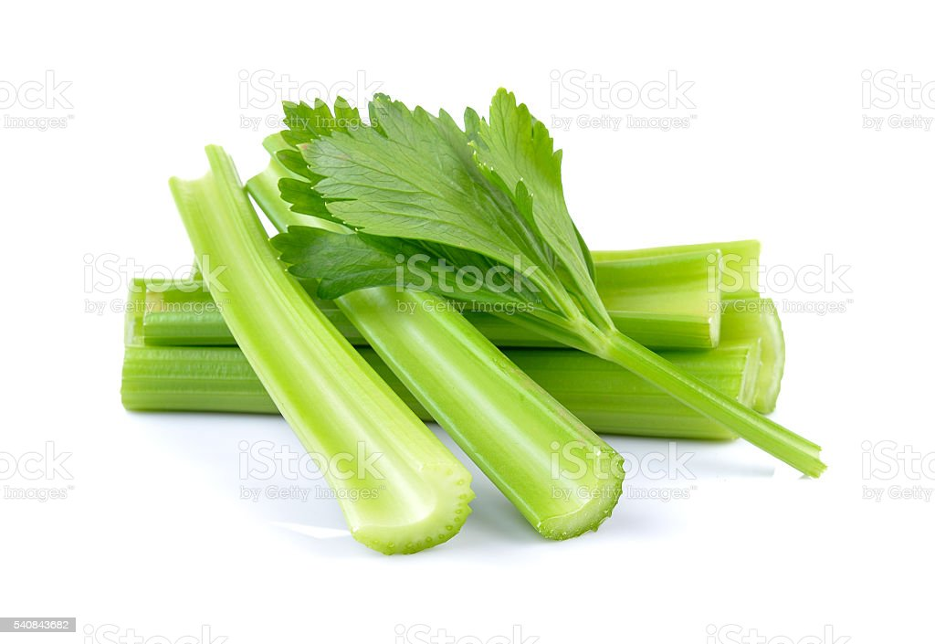 fresh celery on white background stock photo