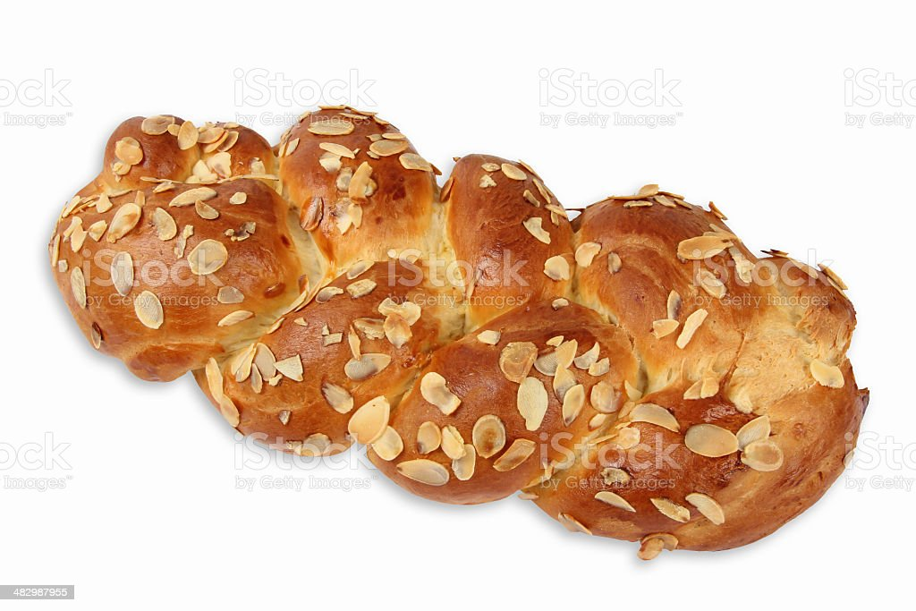 Fresh challah with almond slivers stock photo