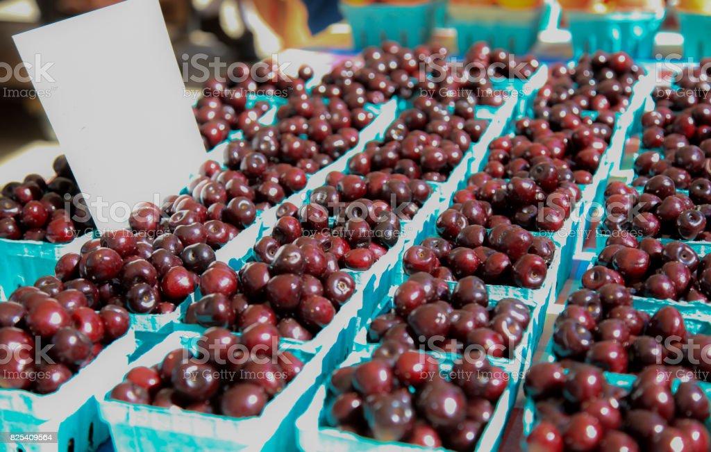Fresh Cherries at Farmer's Market stock photo