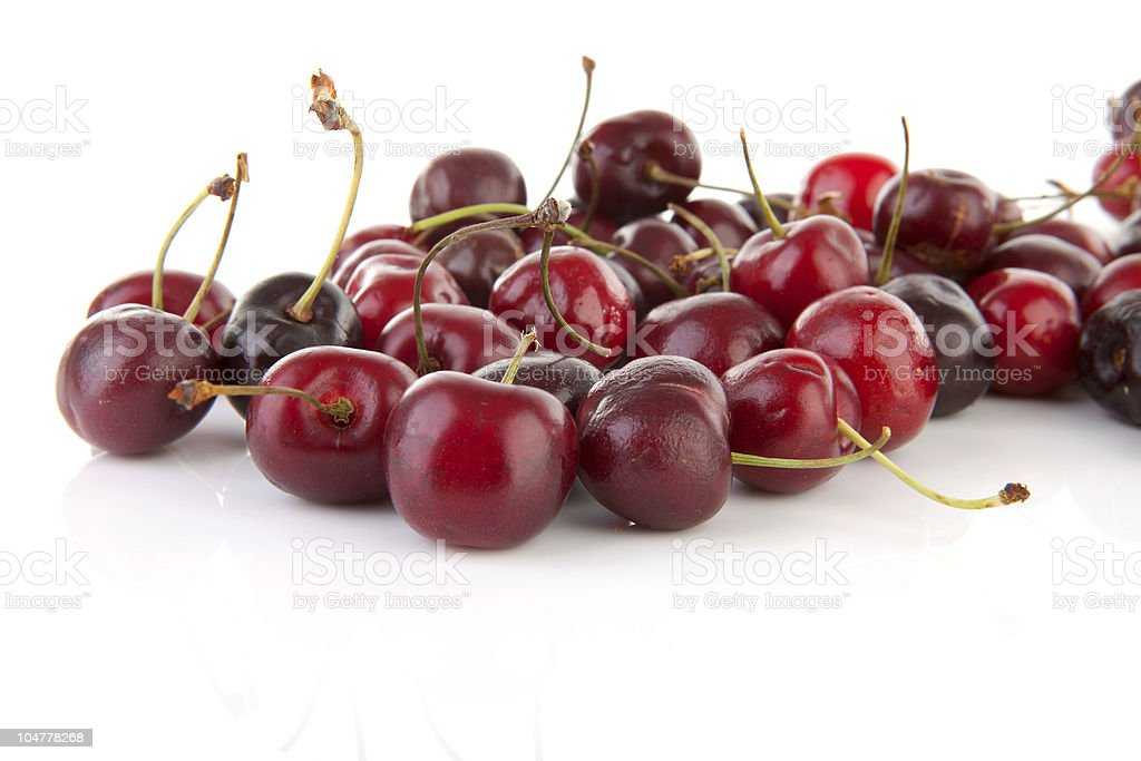 fresh cherries in closeup stock photo