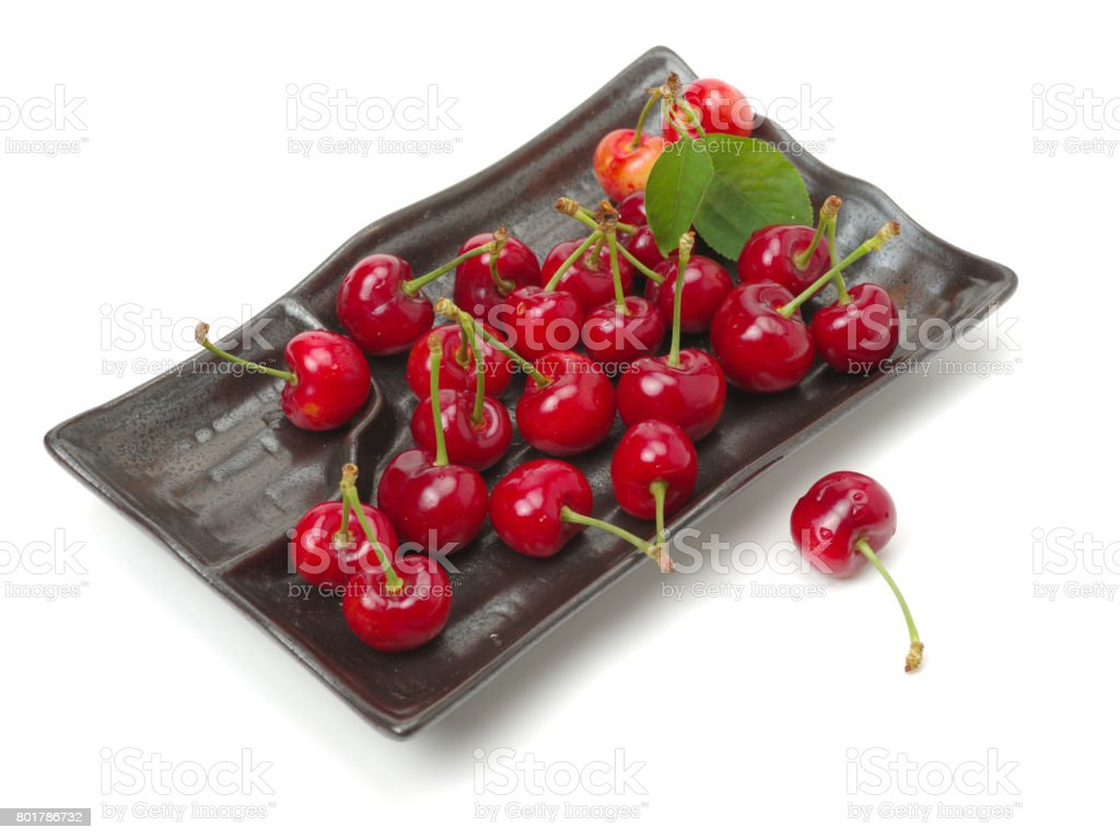 Fresh Cherries on the white background stock photo
