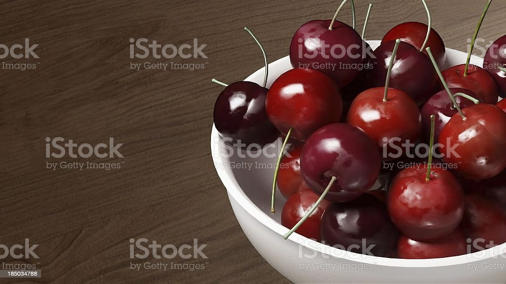 fresh cherries with wood table 2 royalty-free stock photo