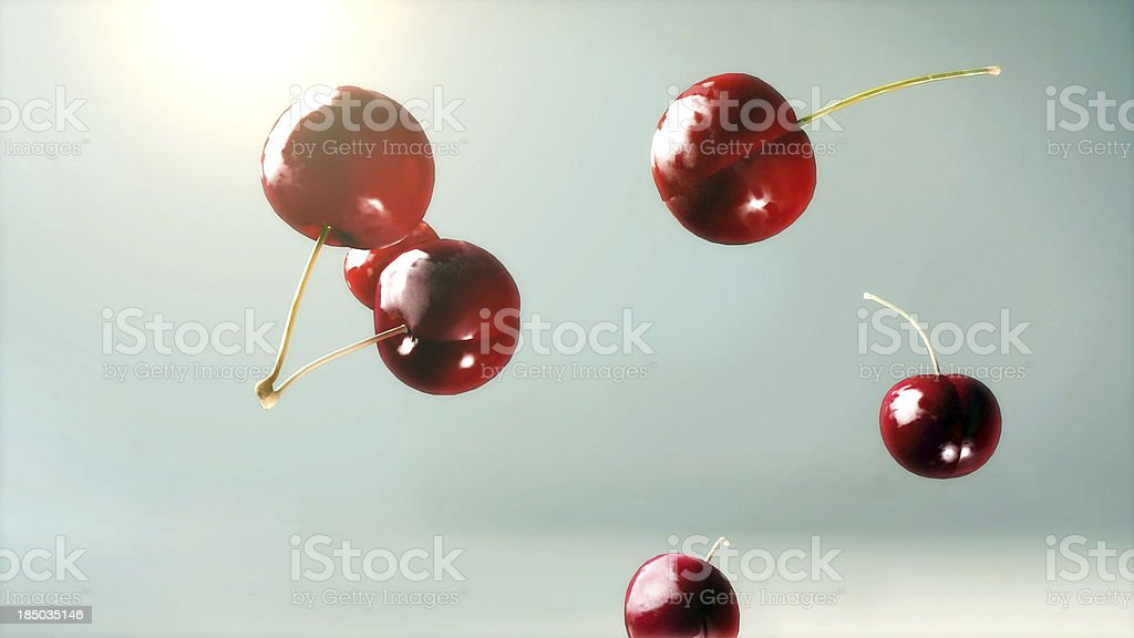 fresh cherry falling down glow 3 royalty-free stock photo