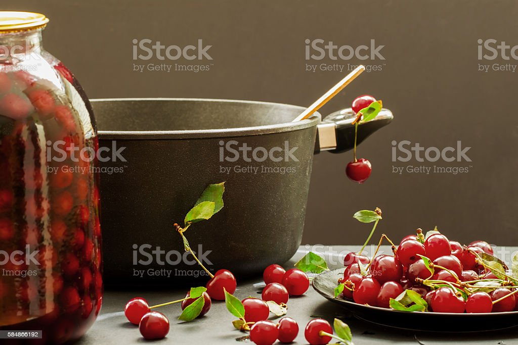 Fresh cherry like the ingredients for cooking stock photo