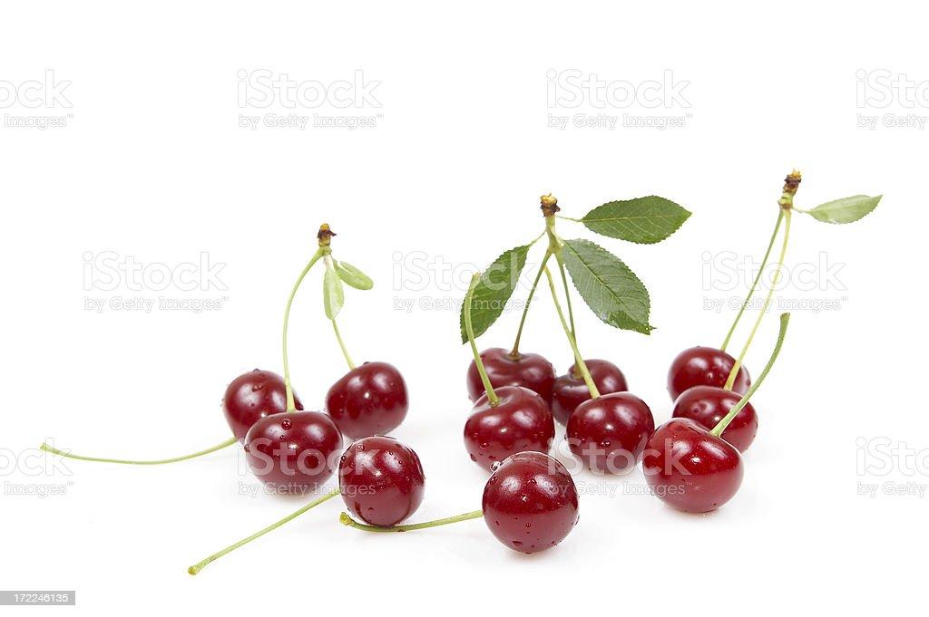 Fresh cherrys isolated on white royalty-free stock photo