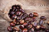 Fresh chestnuts in sack bag