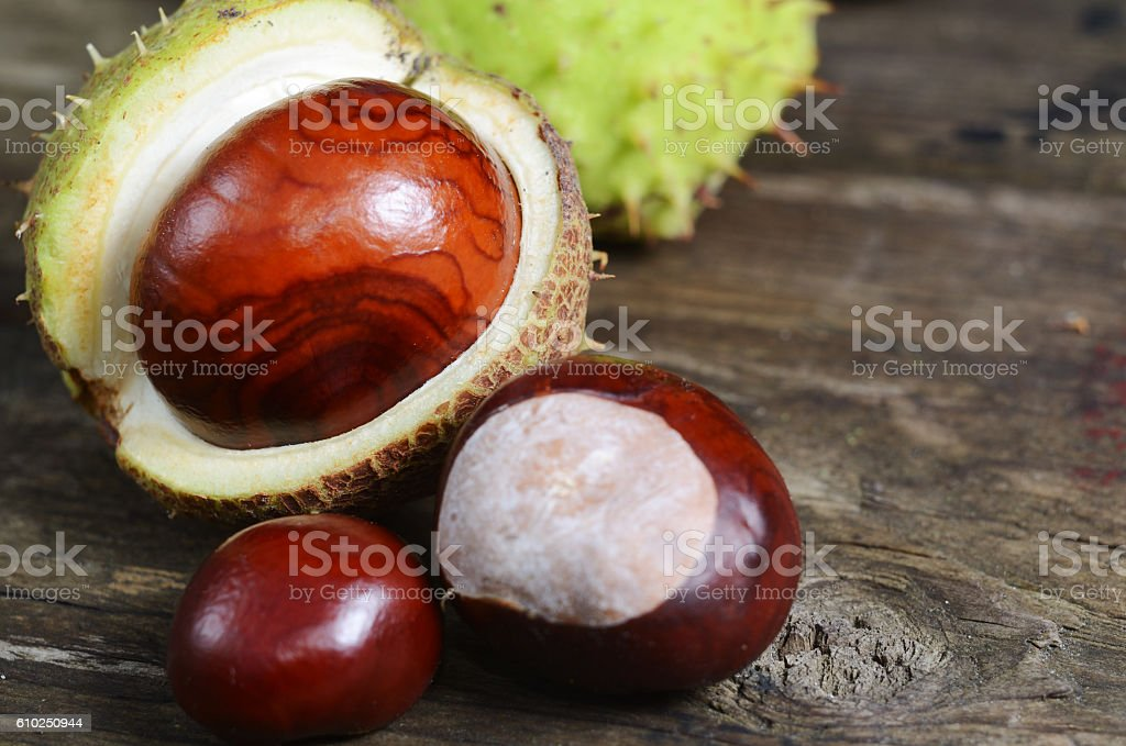 Fresh chestnuts on a rustic wooden table. Autumn concept background stock photo