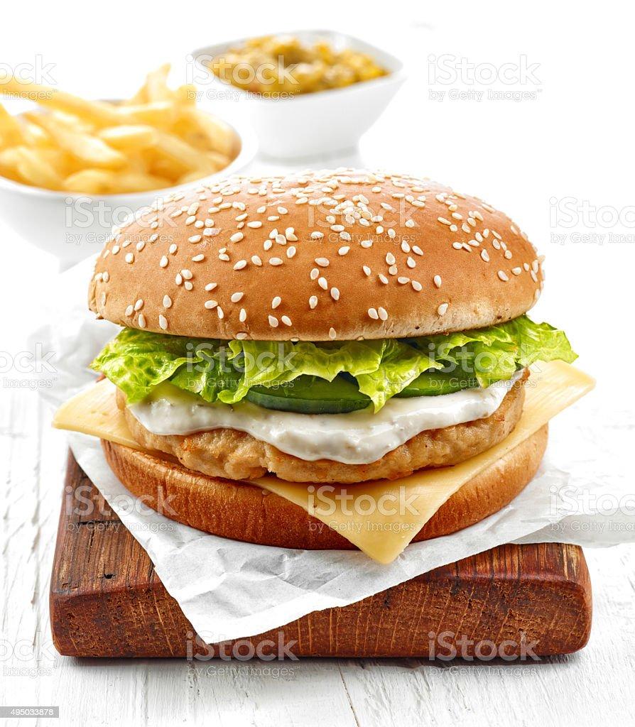 fresh chicken burger stock photo