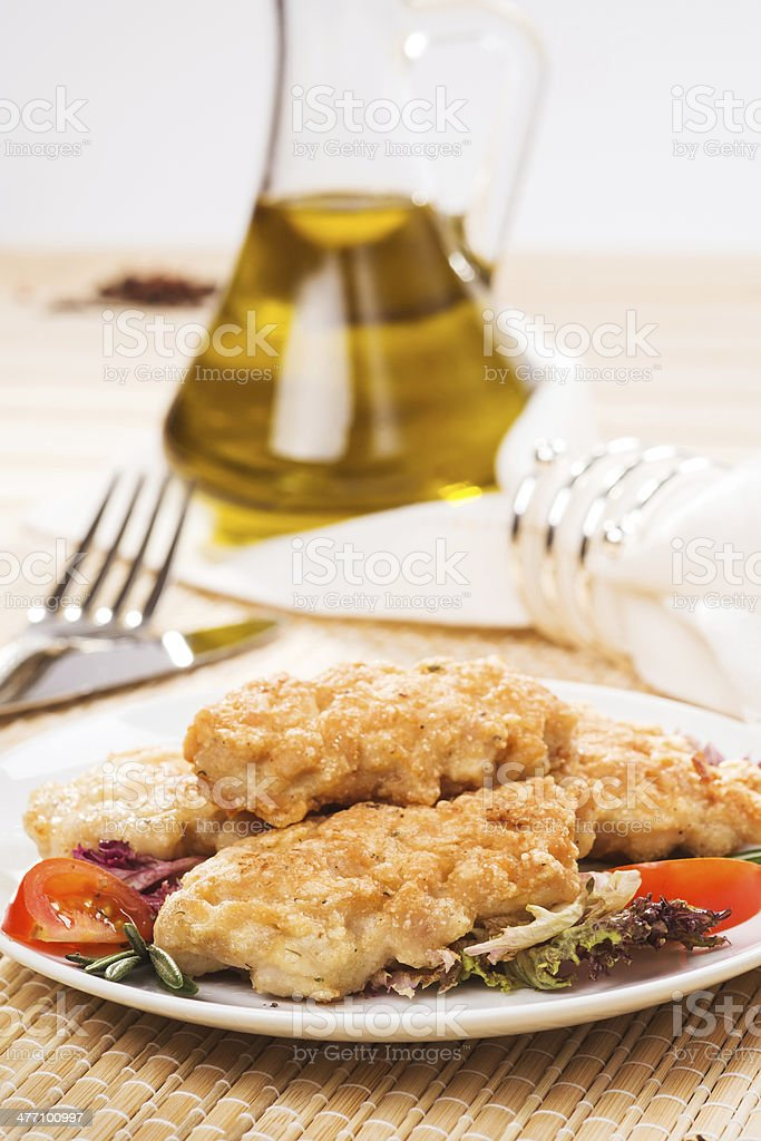 Fresh chicken cutlets with vegetables royalty-free stock photo