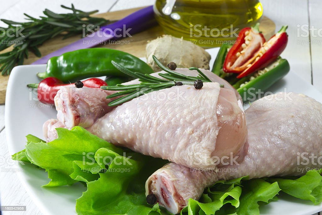 Fresh chicken drumsticks royalty-free stock photo