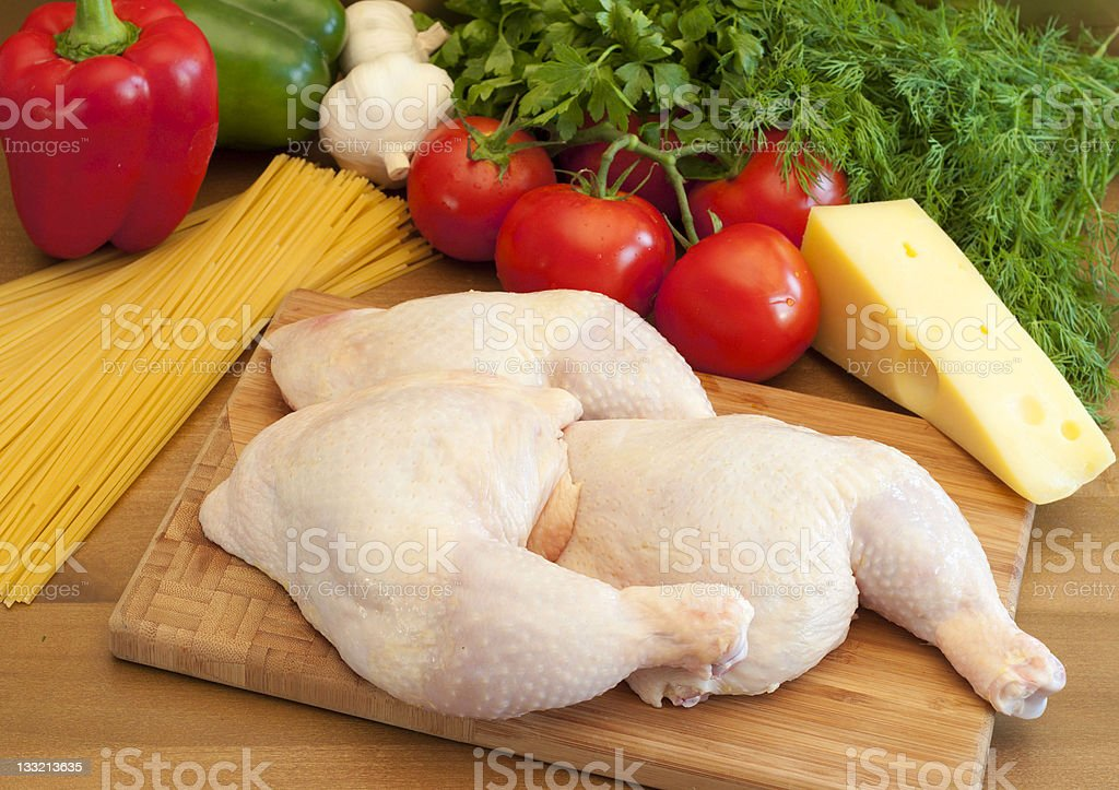 Fresh chicken legs prepared for cooking stock photo