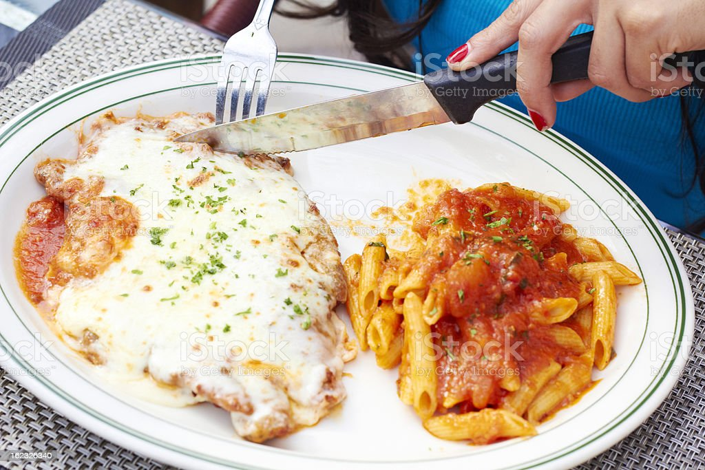 Fresh Chicken Parmesan And Pasta royalty-free stock photo