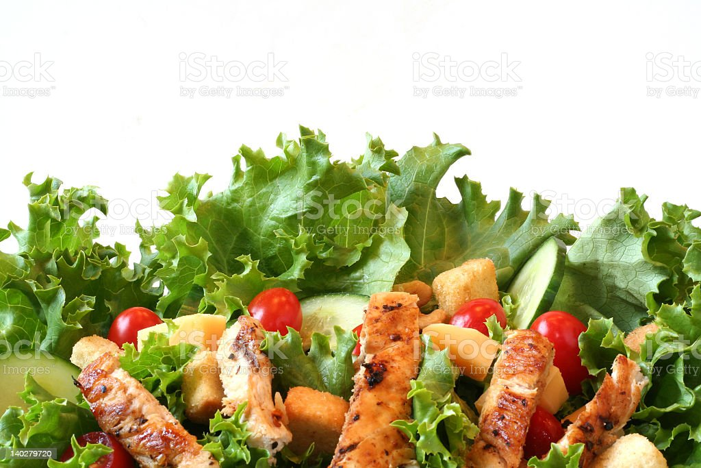 Fresh chicken salad isolated on a white background royalty-free stock photo