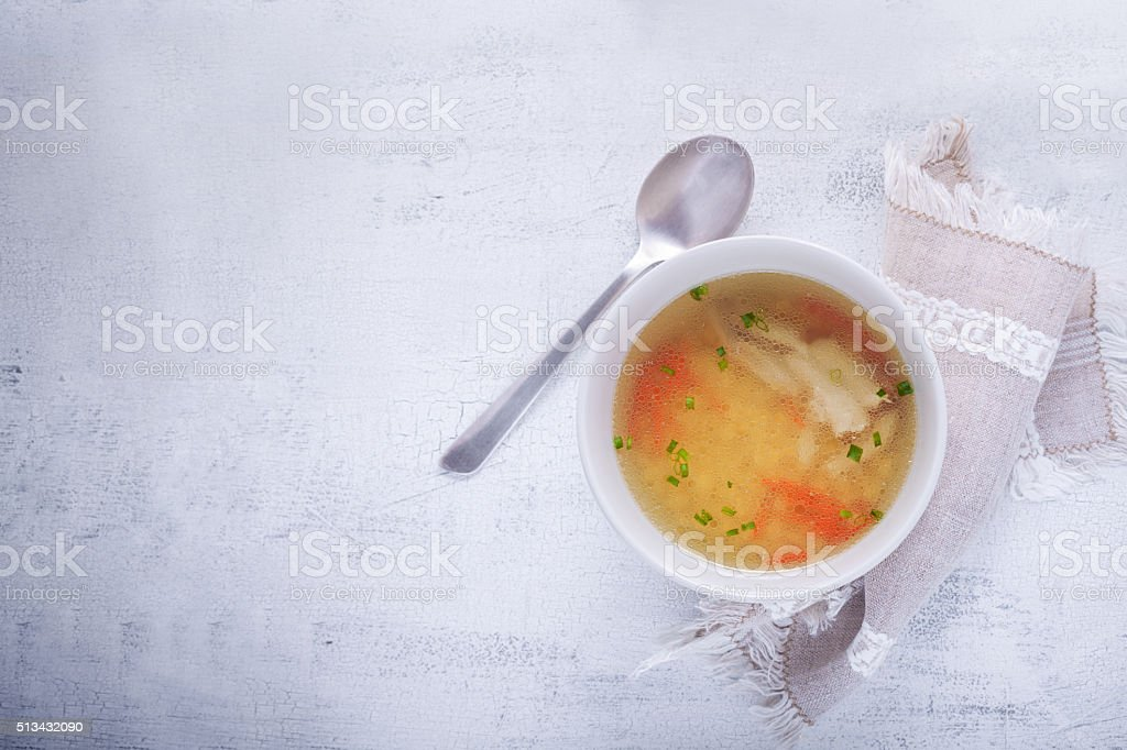 Fresh chicken soup stock photo