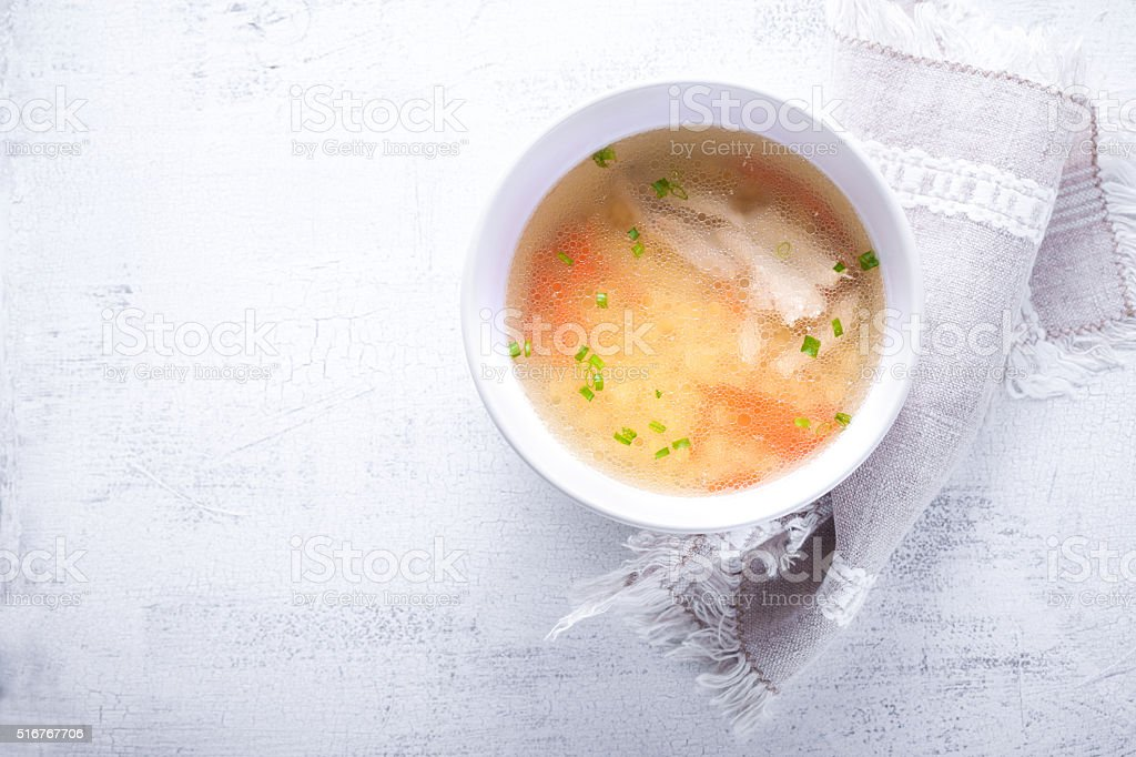 Fresh chicken soup stock photo