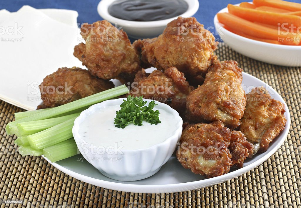Fresh Chicken Wings with Vegetables and Sauce royalty-free stock photo